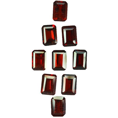 10.90 Cts Natural Pinkish Red Rhodolite Garnet 7x5mm Octagon 9Pcs Mozambiqu