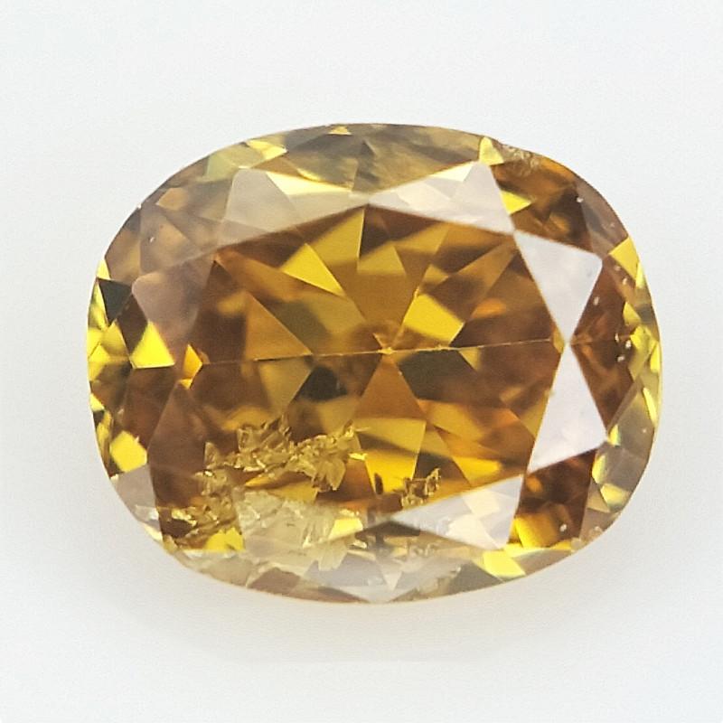 0.07 cts , Very rare Orangy Yellow Diamond , 100% Untreated Unheated