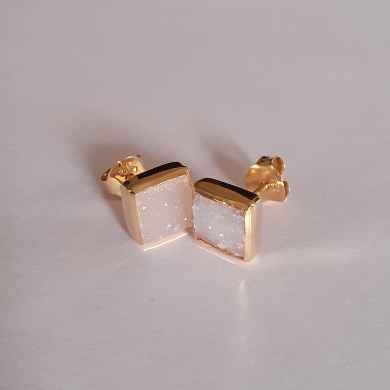 Druzy 925 Sterling silver Yellow Gold plated Earrings #3