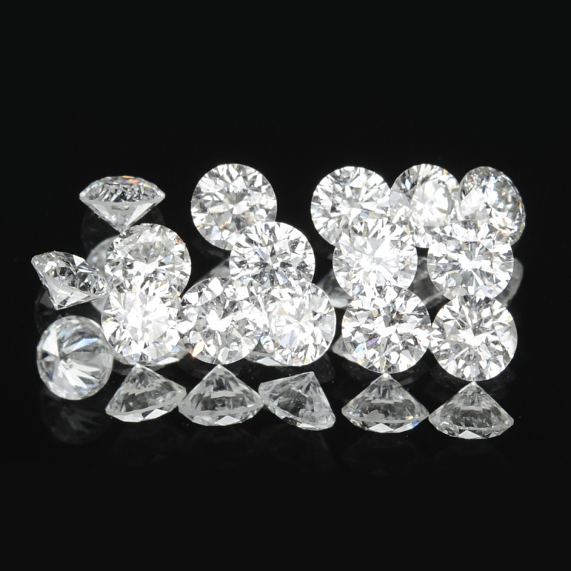 0.38 Cts 15pcs 1.9 mm Rd Untreated Fancy White Color Natural Loose Diamond