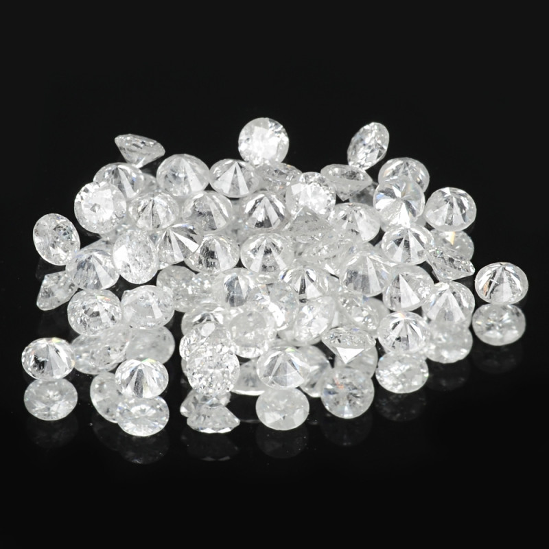1.28 Cts 48pcs 1.8 mm Untreated Fancy White Color Natural Loose Diamond