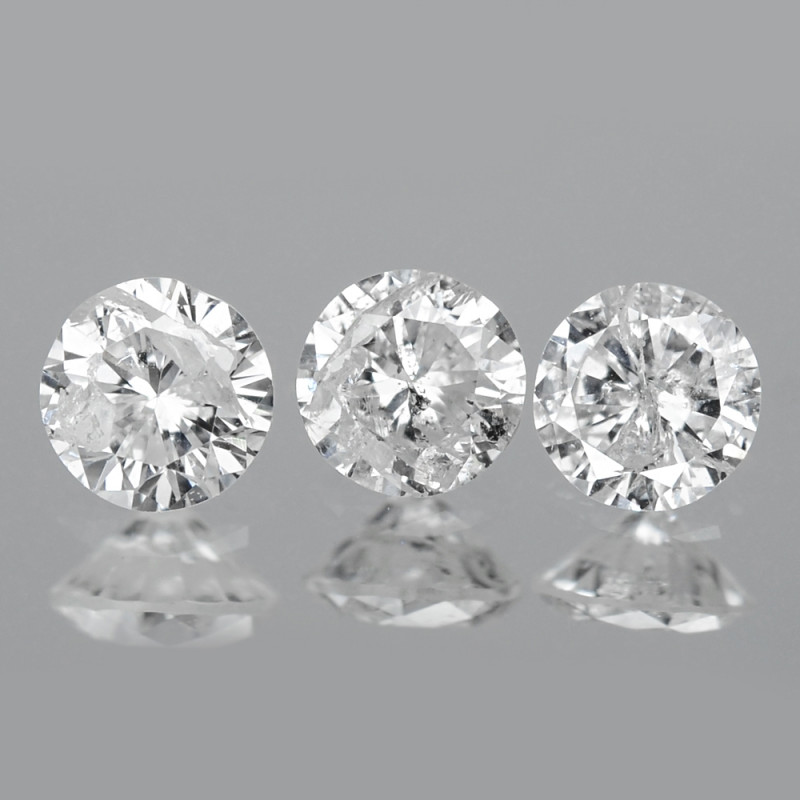 0.24 Cts 3pcs 2.7 mm Untreated Fancy White Color Natural Loose Diamond