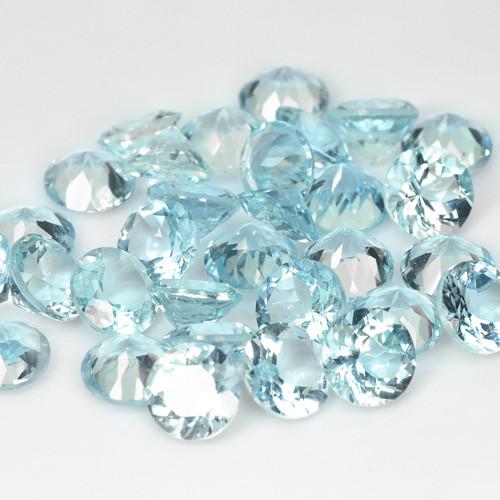 23.05 Cts 32pcs 6mm Un Heated Sky Blue  Natural Aquamarine Loose Gemstone