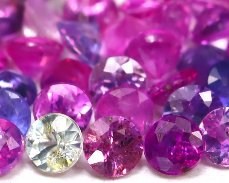 1.37Ct 1.9mm Round Natural Fancy Pink Color Sapphire Lot AB1526