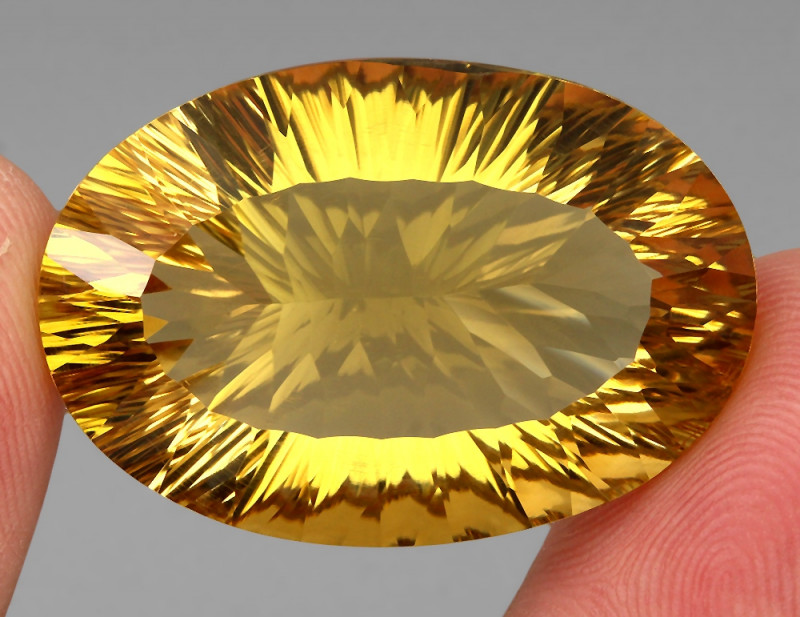 Jumbo Very Clean 63.59 Ct 34x23mm Oval Concave Cut Natural AAA Yellow Citri