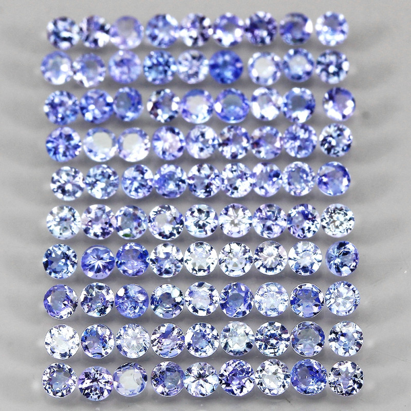 7.17ct 90pcs. 2.6mm Round Cut Natural Rich Blue Violet Tanzanite Unheated