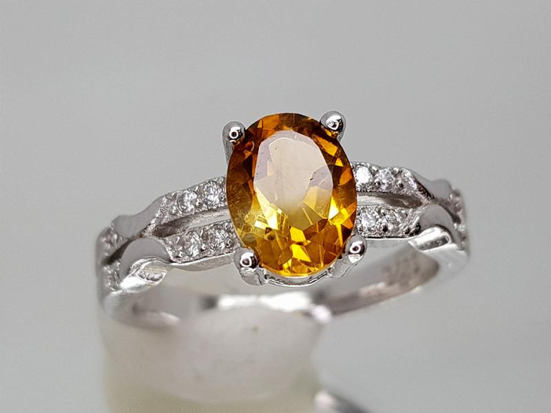 14Crt Madeira Citrine 925 Silver Ring 6  Natural Gemstones JI26