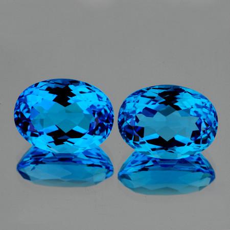 8x6 mm Oval 2 pcs 2.55cts Swiss Blue Topaz [VVS]