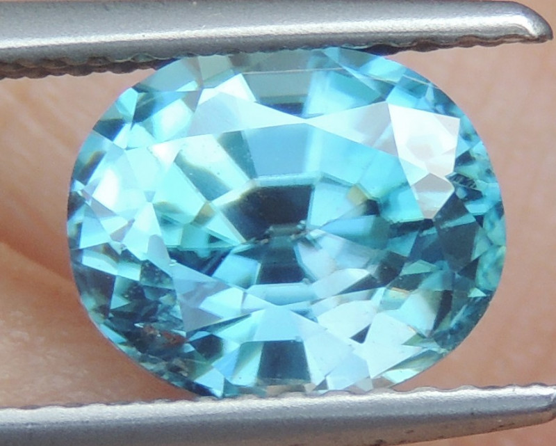 3.31cts Blue Zircon from Cambodia Top Cut