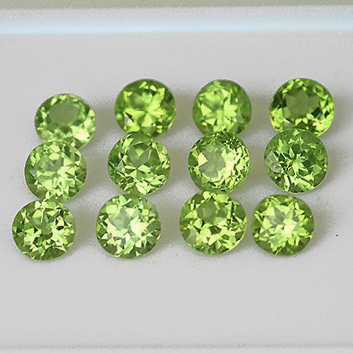 2.50 mm Round 40 pcs 2.86cts Green Peridot [VVS]