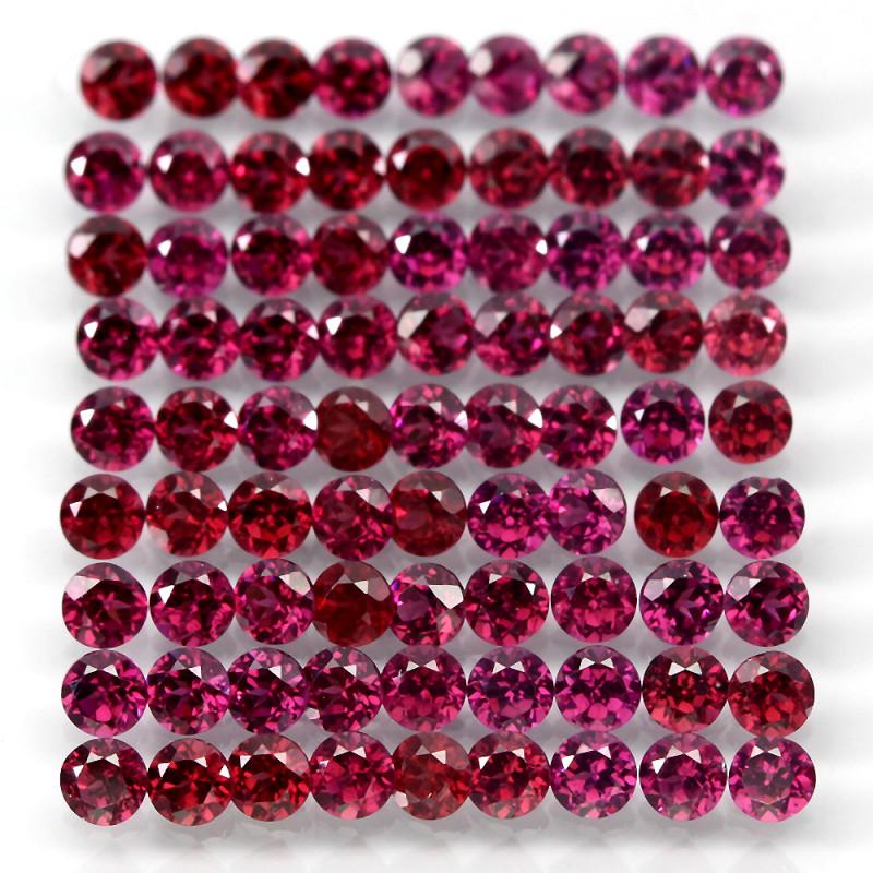 10.24 Ct 85pcs. 2.7mm Round 100% Natural Neon Purple Rhodolite Garnet Malaw