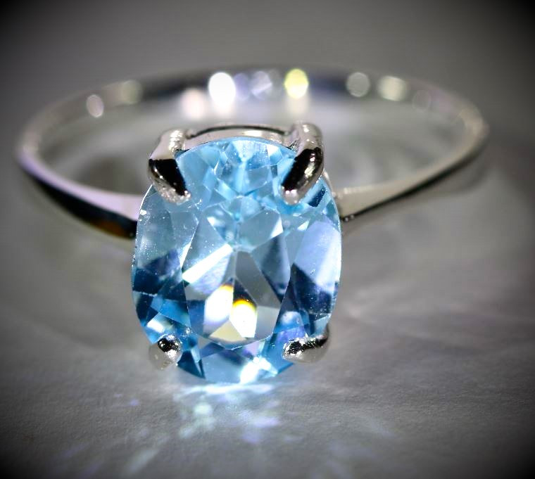 Blue Topaz 4.65ct Platinum Finish Solid 925 Sterling Silver Ring