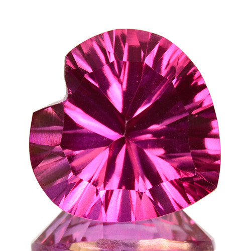 5.81 Cts  Pink Natural Topaz Heart 12mm Concave Cut Brazil