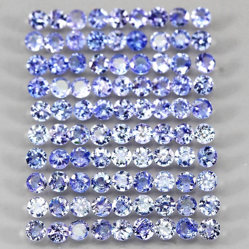 6.98ct 90pcs. 2.6mm Round Cut Natural Rich Blue Violet Tanzanite Unheated