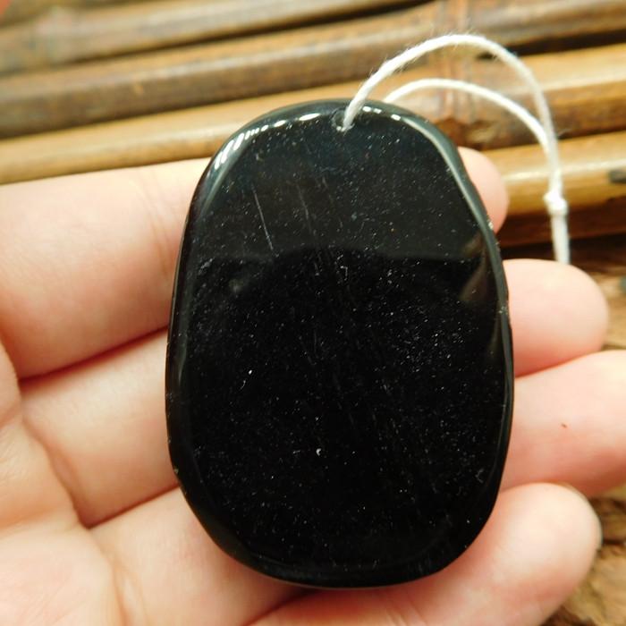 Gemstone carved obsidian peacock pendant (G2449)