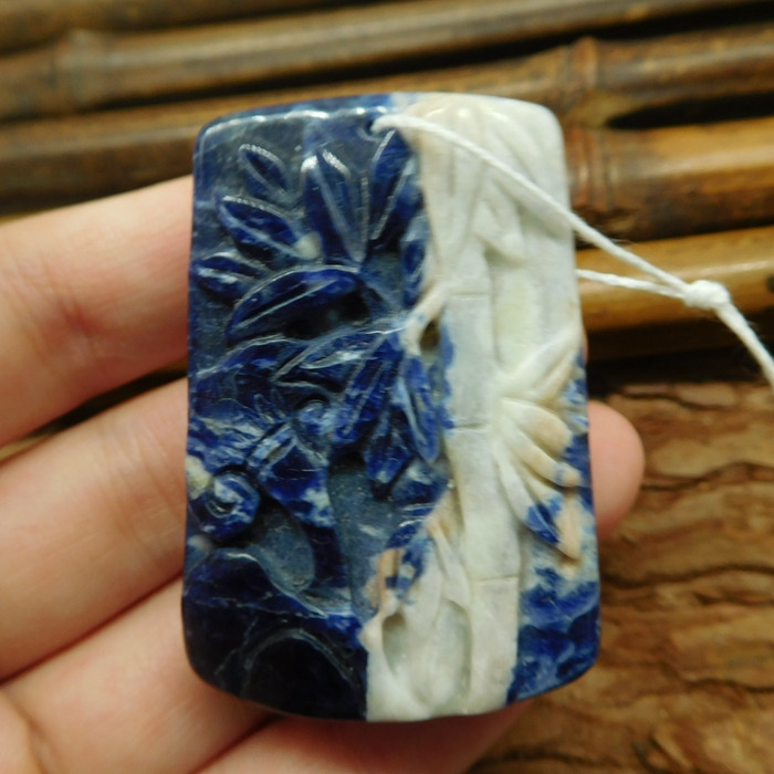Blue sodalite carved bamboo pendant (G2451)