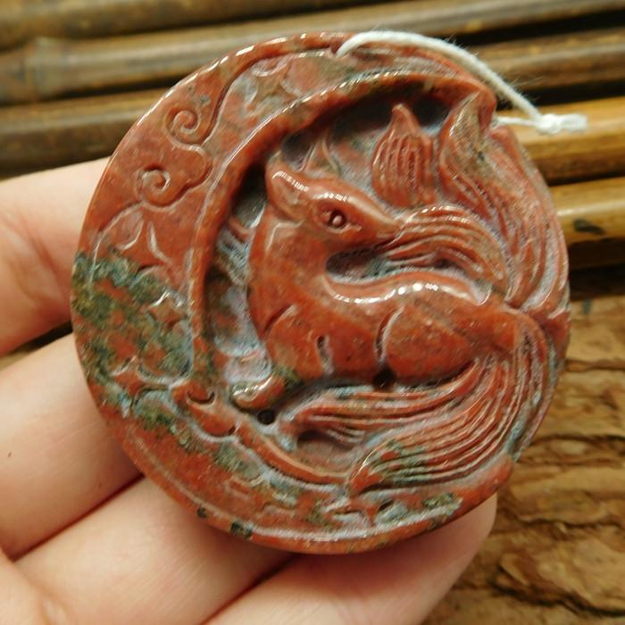 Red jasper carved fox pendant (G2456)