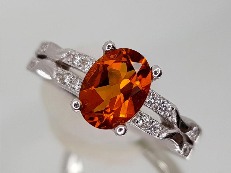 15Crt Madeira Citrine 925 Silver Ring 7 Natural Gemstones JI28