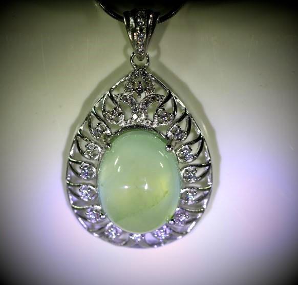 Prehnite 12.40ct White Gold Finish Solid 925 Sterling Silver Pendant