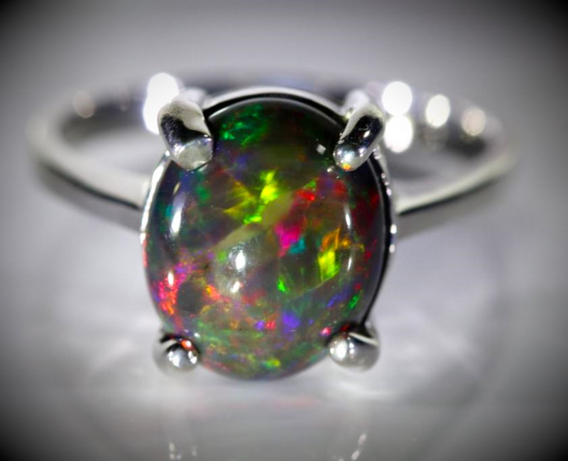 Chocolate Opal 5.05ct Platinum Finish Solid 925 Sterling Silver Ring