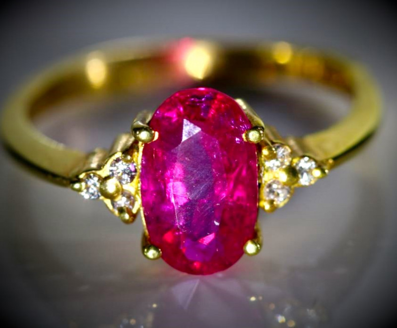 Jegdalek Ruby 2.32ct Natural Diamonds Solid 22K Yellow Gold Ring Natural Un