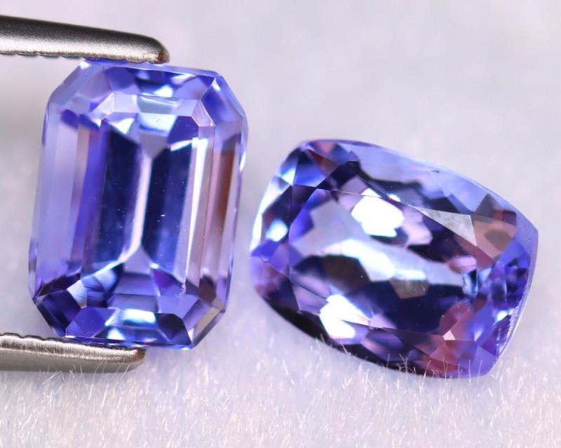 Tanzanite 3.23Ct 2Pcs Natural VVS Purplish Blue Tanzanite ER397/D4