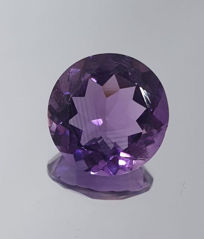 5.92 Ct Amethyst  Faceted Round 12.5mm.-(SKU 398)