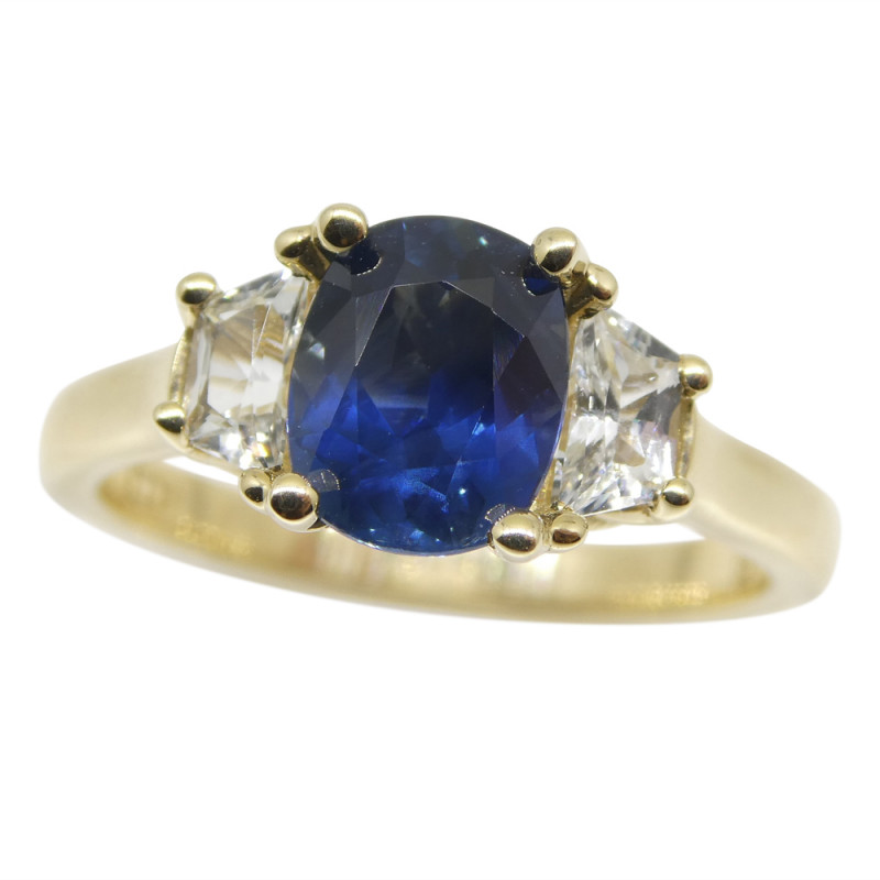 1.62ct Blue & White Sapphire Ring set in 14kt Yellow Gold, CGL-GRS Certifie