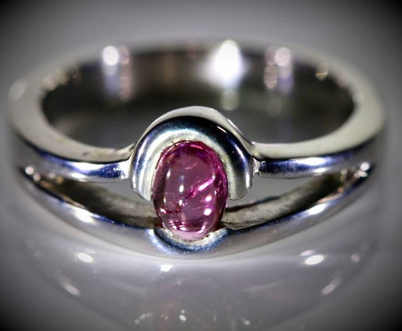 Pink Sapphire .58ct Platinum Finish Solid 925 Sterling Silver Ring