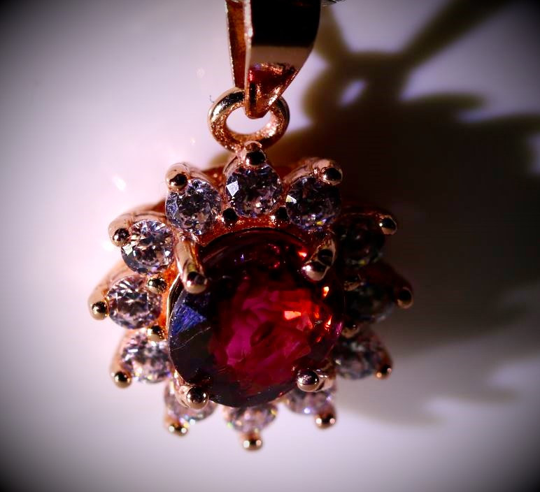 Red Tourmaline .55ct Rose Gold Finish Solid 925 Sterling Silver Pendant