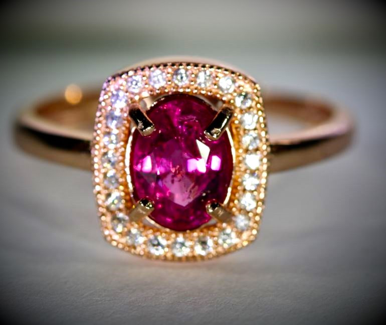 Rubellite .80ct Rose Gold Finish Solid 925 Sterling Silver Ring