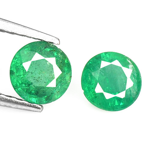 Zambian Emerald 0.57 Cts 2 Pcs Natural Vivid Green Loose Gemstone