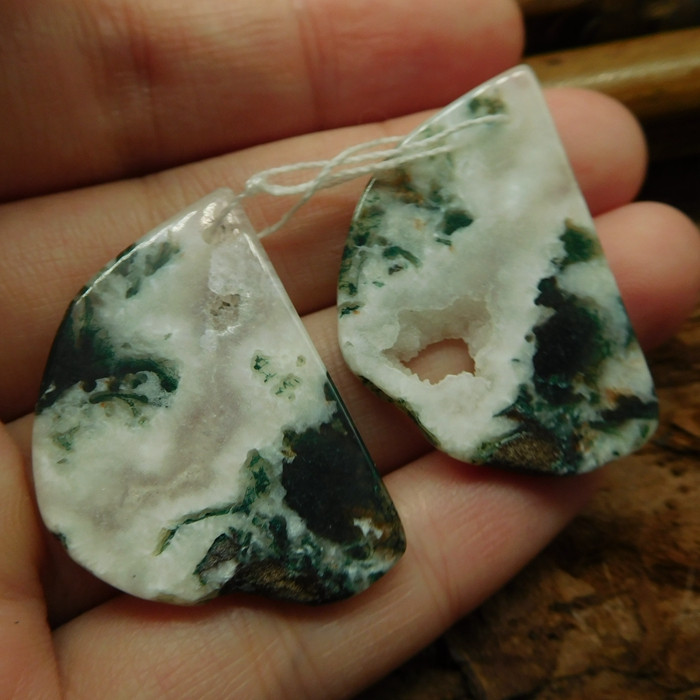 Nugget moss agate earring pairs (G2503)