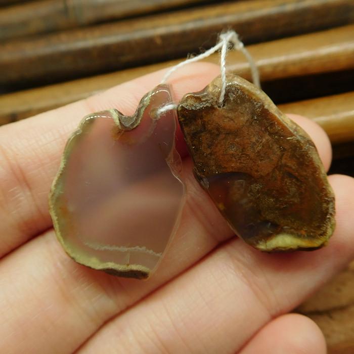 Natural gemstone agate earring bead (G2509)