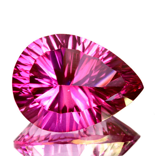 Concave cut 5.26Cts Candy Pink Natural Topaz 14 X 10mm Pear Brazi