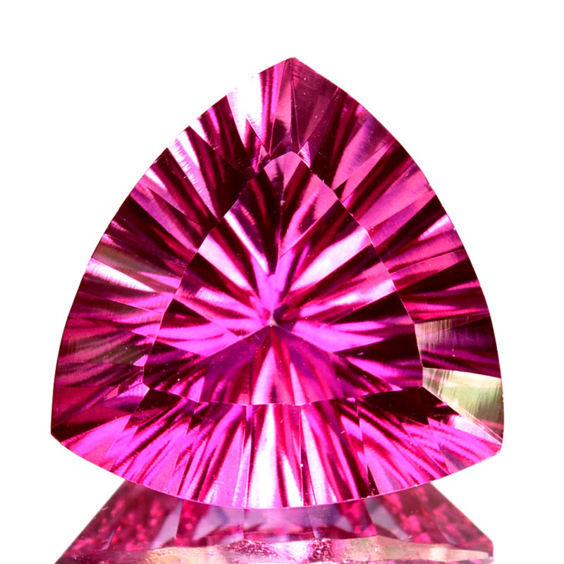 3.50 Cts Candy Pink Natural Topaz 9.7mm Trillion Concave Cut Brazil