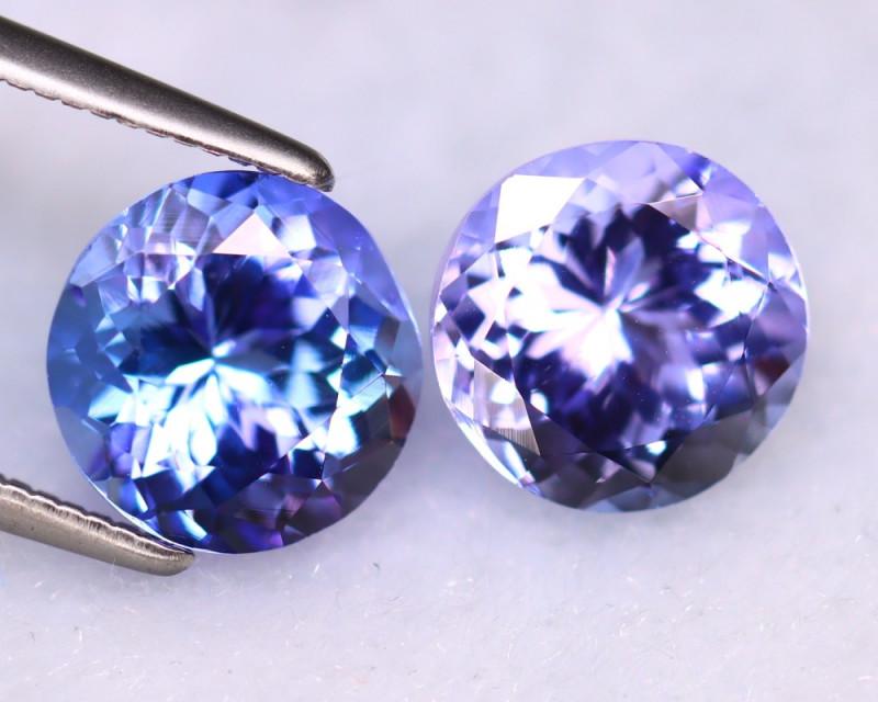 Tanzanite 4.45Ct 2Pcs Natural VVS Purplish Blue Tanzanite DR511/D4