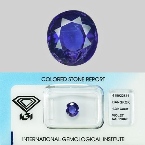 1.39 Cts IGI Ceritfied Natural Violet Sapphire Loose Gemstone