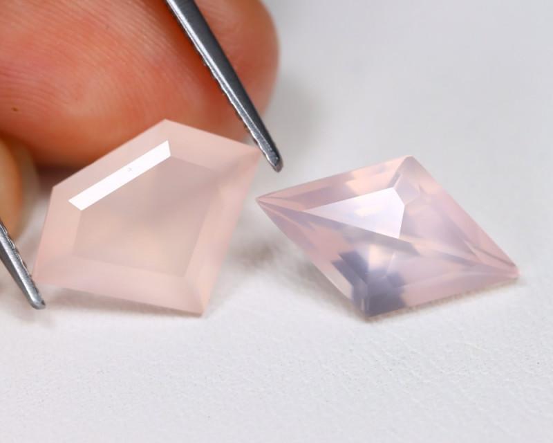 Rose Quartz 6.50Ct 2Pcs Fancy Cut NaturalPink Rose Quartz Lot B2510