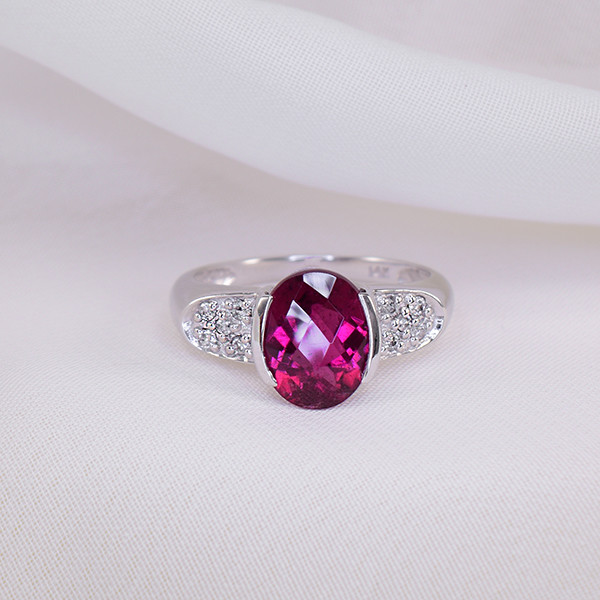 Natural Rubellite & Diamond 14kt GOLD Ring Size 7