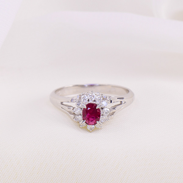 PLATINUM ,Natural Ruby &  Diamond Ring  (GR0018)