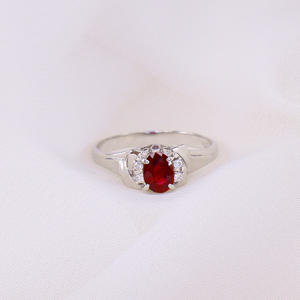 PLATINUM Natural Ruby & Diamond Ring, Untreated Ruby .80ct