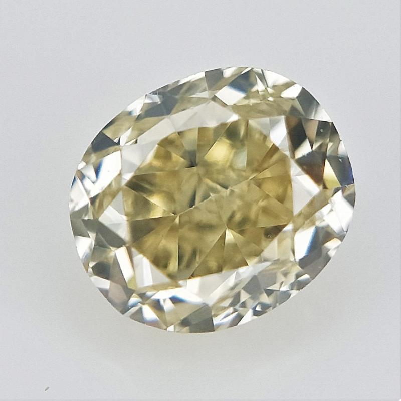0.12 cts ,  Natural Light Yellow Diamond , Oval Brilliant Cut