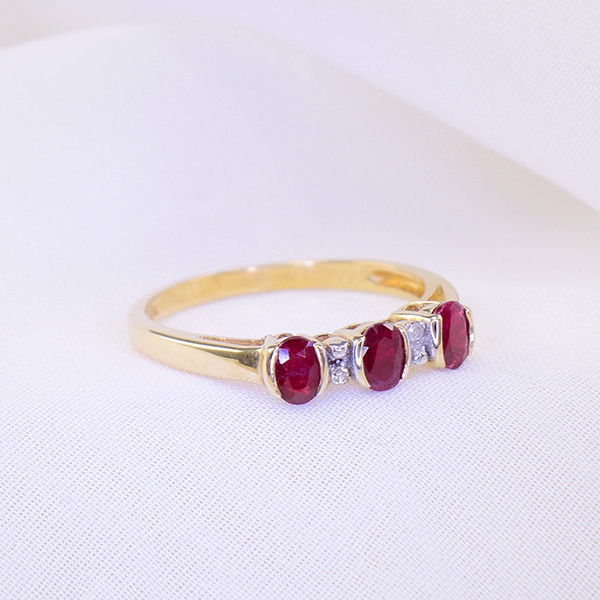 Natural Unheated Ruby & Diamond Gold Ring