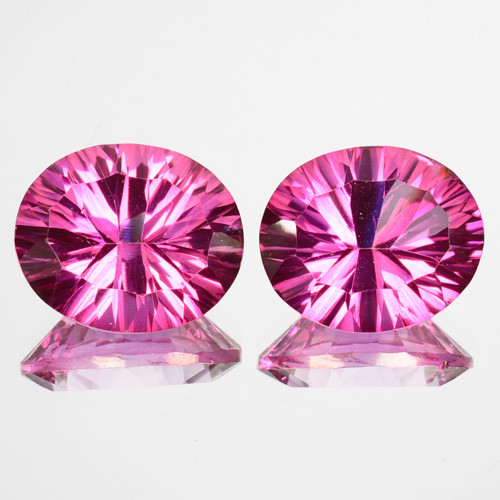 ~Matching pair~ 10.56 Cts Candy Pink Natural Topaz 12 X10 mm Oval  Concave