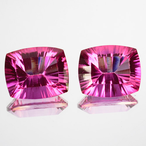~Matching pair~ 12.85 Cts Candy Pink Natural Topaz 12X10mm Cushion Concave