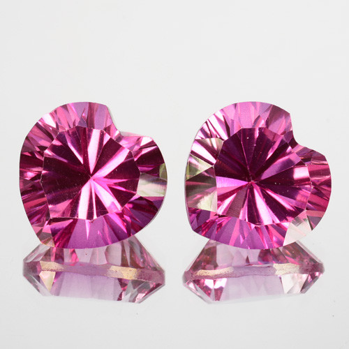 ~Matching pair~ 9.16 Cts Candy Pink Natural Topaz 10X7mm Heart Concave Braz