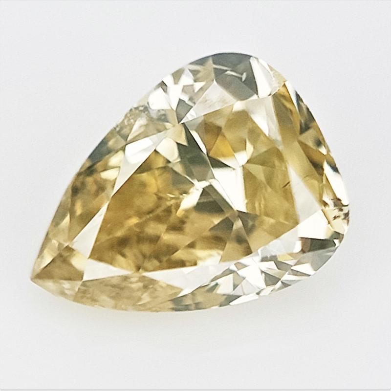 0.16 CTS , Yellow Natural Diamond , Pear Brilliant Cut