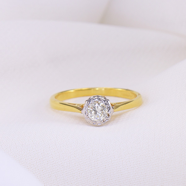18kt Gold Diamond Solitaire US Size 6