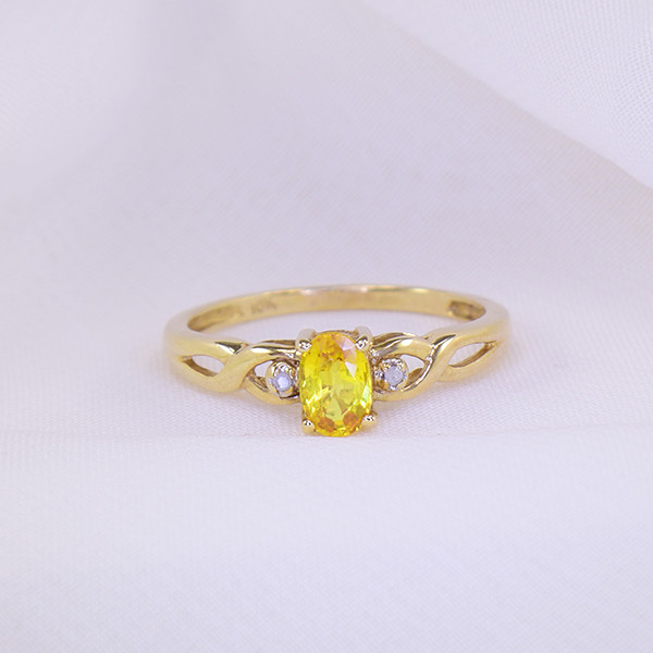 Natural Unheated Yellow Sapphire & Diamond 10kt Gold Ring